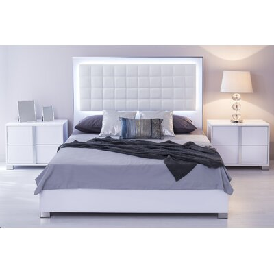 Belfield Upholstered Panel Bed Color: White, Size: King