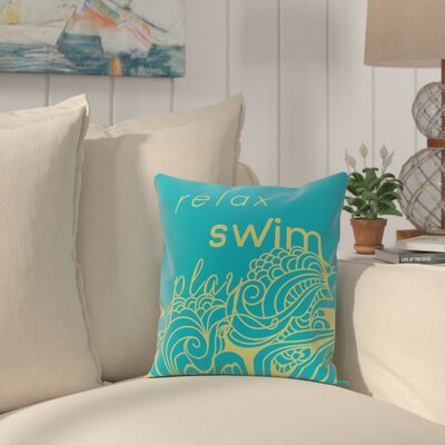 Grand Ridge Mellow Mantra Word Throw Pillow Size: 16 H x 16 W, Color: Turquoise