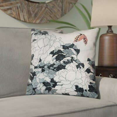 Enya Peonies with Butterfly Throw Pillow Color: Peach/Gray, Size: 18 x 18