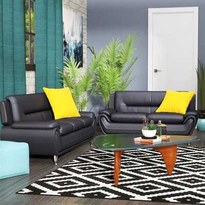 Hawking 2 Piece Living Room Set Upholstery: Black