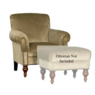Crutchfield Club Chair Upholstery: Polyester Mystere Leaf Solid, Finish: Walnut