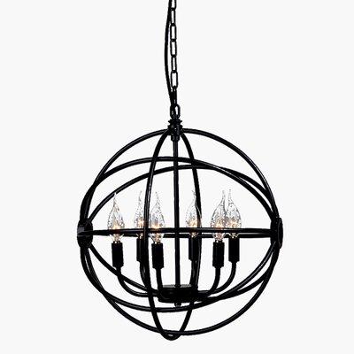 Longe Circle Cage Candelabra 6-Light Globe Pendant