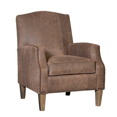 Cuccia Club Chair Upholstery: InsideOut Coffee, Finish: Driftwood