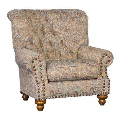 Cueto Club Chair Upholstery: Double Take Spa Damask, Finish: Walnut
