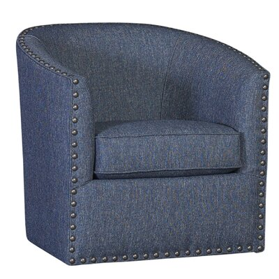Tompson Swivel Barrel Chair Upholstery: Polyester Highline Navy
