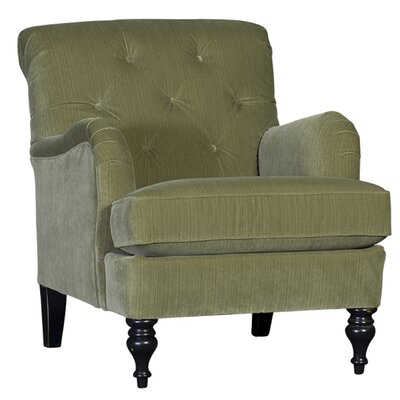Culbreth Club Chair Upholstery: Striato Leek Solid, Finish: Old World Black