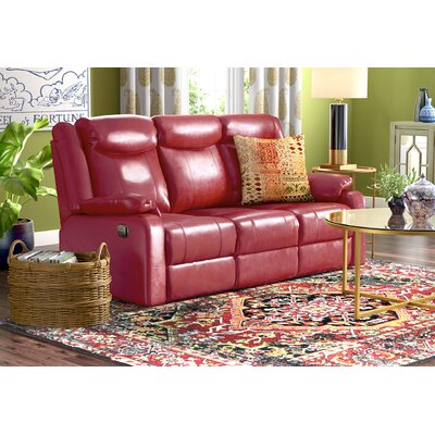 Roudebush Double Leather Reclining Sofa Upholstery: Red