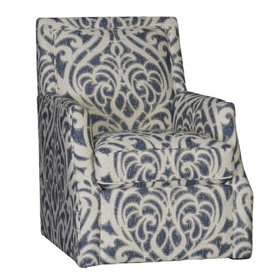Cruse Swivel Club Chair Upholstery: Cotton Vickrey Indigo Damask