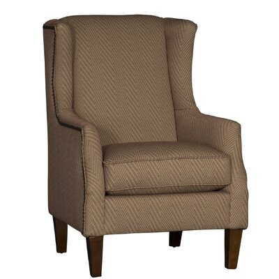 Huckins Wingback Chair Upholstery: Cotton Flummox Henna Chevron, Finish: Walnut