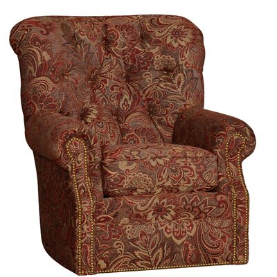 Custis Wood Swivel Club Chair Upholstery: Paisley Cayenne Damask
