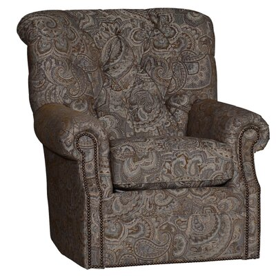 Custis Wood Swivel Club Chair Upholstery: Paisely Opal Damask
