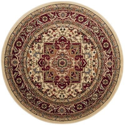 Theresa Ivory/Maroon Area Rug Rug Size: Round 10