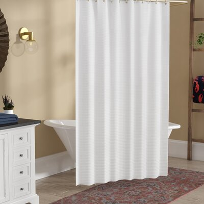 Zella Hotel Waffle Shower Curtain Color: White