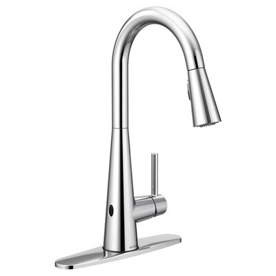 Sleek Pull Down Touchless Single Handle Kitchen Faucet Finish: Chrome