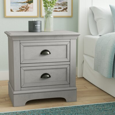 Ardie 2 Drawer Nightstand Color: Gray