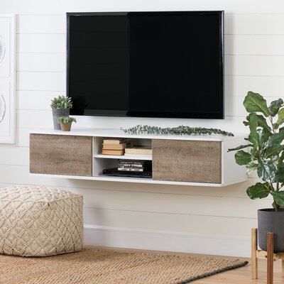 Agora 56 TV Stand Color: Pure white and weathered oak