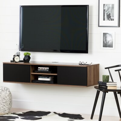 Agora Wall Mounted Media Console 56  TV Stand Color: Natural walnut and matte black