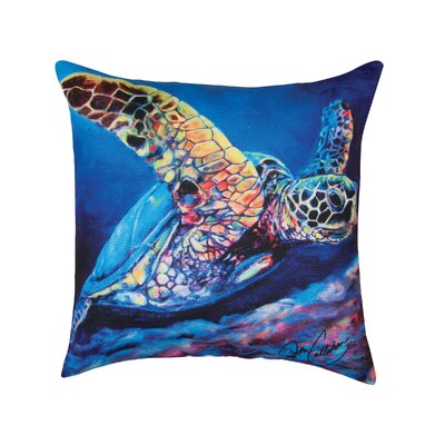 Regan Sea Turtle Ascending Indoor/Outdoor Throw Pillow