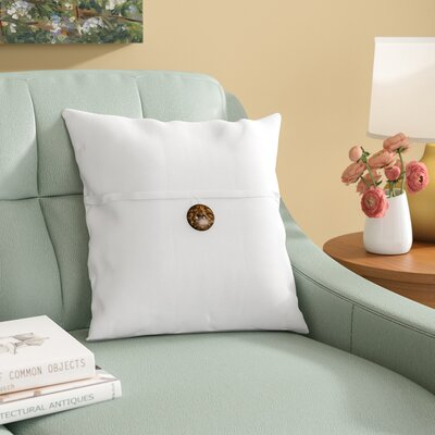 Mullins Essex Button Throw Pillow Color: White