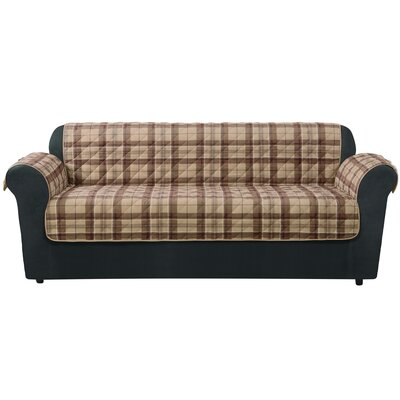 Highland Plaid Sofa Slipcover Upholstery: Tan