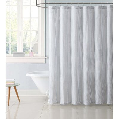 Dunnam Kids Stripe Shower Curtain Color: Gray