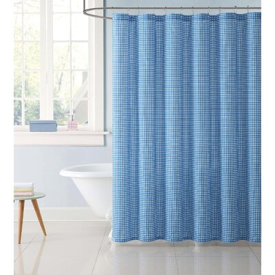 Duell Kids Gingham Shower Curtain Color: Blue