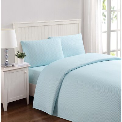Metoyer Everyday Stripe Microfiber Sheet Set Size: Full, Color: Aqua