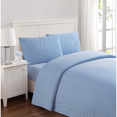 Metoyer Everyday Stripe Microfiber Sheet Set Size: Queen, Color: Blue