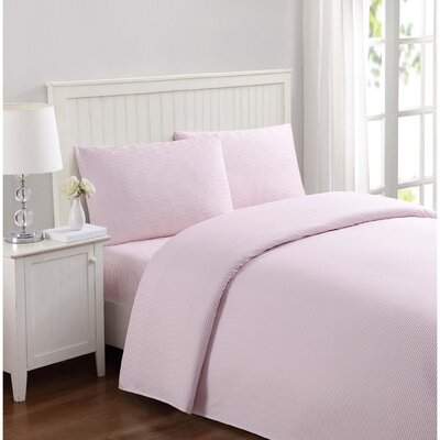 Metoyer Everyday Stripe Microfiber Sheet Set Size: Full, Color: Pink