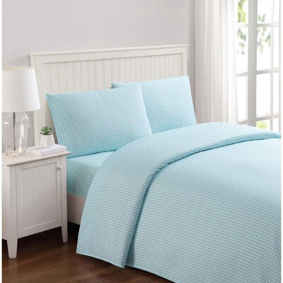 Everyday Gingham Microfiber Sheet Set Size: Full, Color: Aqua