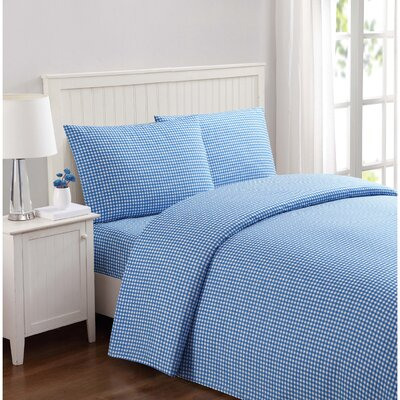 Everyday Gingham Microfiber Sheet Set Size: Full, Color: Blue