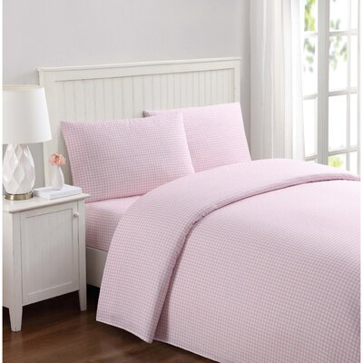 Everyday Gingham Microfiber Sheet Set Size: Twin, Color: Pink