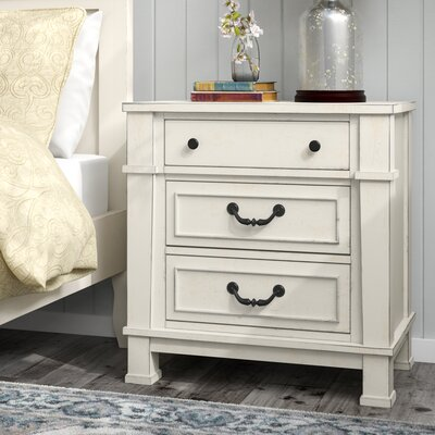 Parfondeval 3 Drawer Wood Nightstand