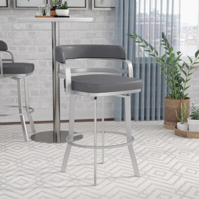 Depaul Swivel 26 Bar Stool Upholstery: Gray
