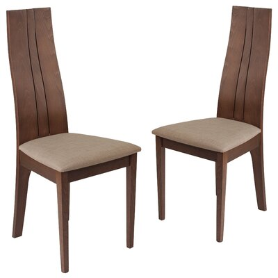Huskins Upholstered Dining Chair Upholstery Color: Magnolia Brown, Frame Color: Walnut
