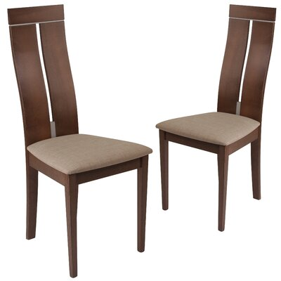 Huseman Upholstered Dining Chair Upholstery Color: Magnolia Brown, Frame Color: Walnut