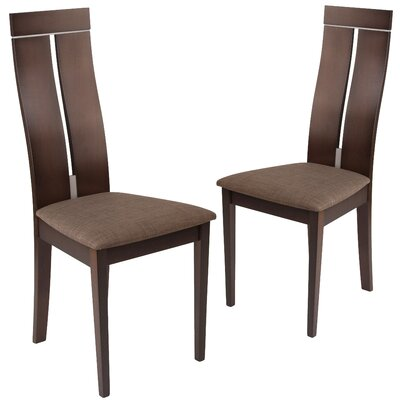 Huseman Upholstered Dining Chair Upholstery Color: Honey Brown, Frame Color: Expresso