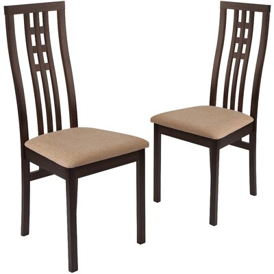 Hutchcraft Dining Chair Upholstery Color: Honey Brown, Frame Color: Expresso