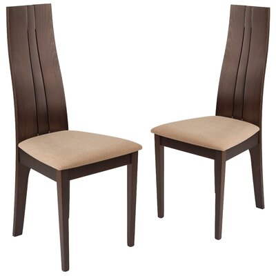 Huskins Upholstered Dining Chair Upholstery Color: Brown, Frame Color: Expresso