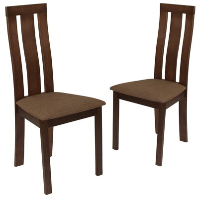 Hutsell Upholstered Dining Chair Upholstery Color: Honey Brown, Frame Color: Expresso