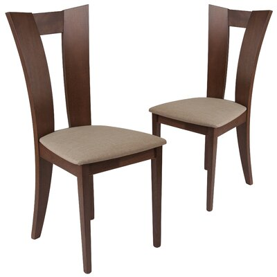 Hutson Upholstered Dining Chair Upholstery Color: Magnolia Brown, Frame Color: Walnut