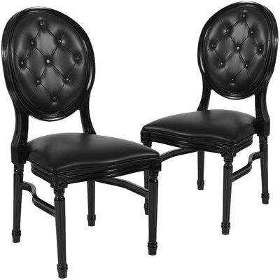 Komar Upholstered Dining Chair Upholstery Color: Black, Frame Color: Black