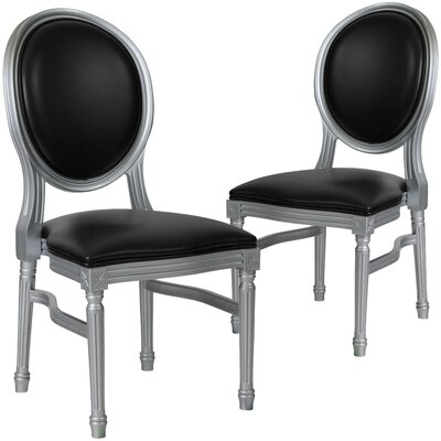 Komar Upholstered Dining Chair Upholstery Color: Black, Frame Color: Silver