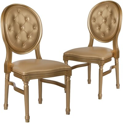 Komar Upholstered Dining Chair Upholstery Color: Gold, Frame Color: Gold