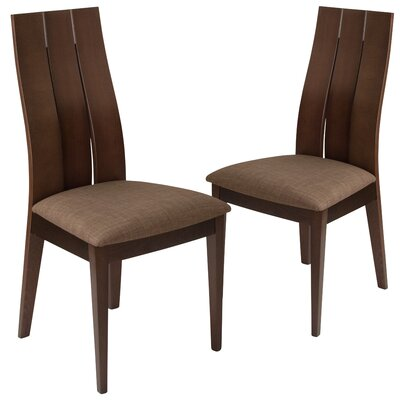 Hutchens Upholstered Dining Chair Upholstery Color: Honey Brown, Frame Color: Expresso