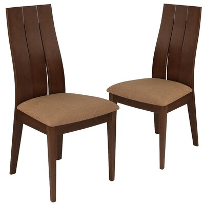 Hutchens Upholstered Dining Chair Upholstery Color: Brown, Frame Color: Walnut