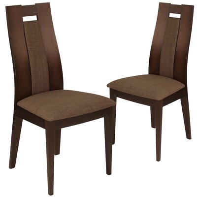 Hutchison Upholstered Dining Chair Upholstery Color: Honey Brown, Frame Color: Expresso