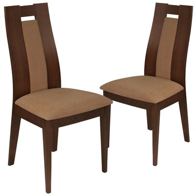 Hutchison Upholstered Dining Chair Upholstery Color: Brown, Frame Color: Walnut
