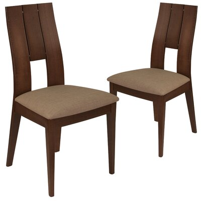 Huth Upholstered Dining Chair Upholstery Color: Magnolia Brown, Frame Color: Walnut