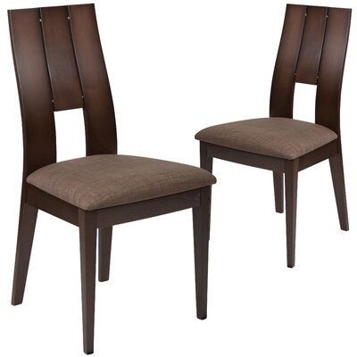 Huth Upholstered Dining Chair Upholstery Color: Honey Brown, Frame Color: Expresso
